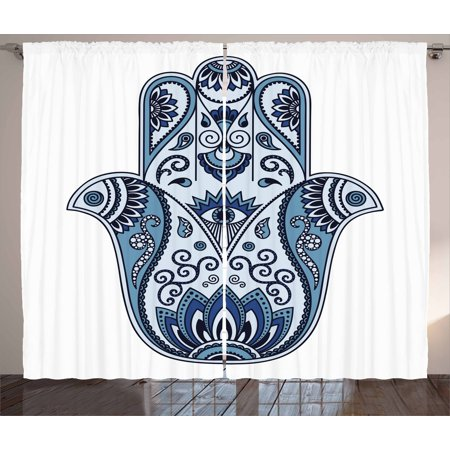 Hamsa Curtains 2 Panels Set, Mystic Pagan Talisman Ancient Culture Protective Power Luck Evil Eye, Window Drapes for Living Room Bedroom, 108W X 84L Inches, Pale Blue Indigo Baby Blue, by Ambesonne ()