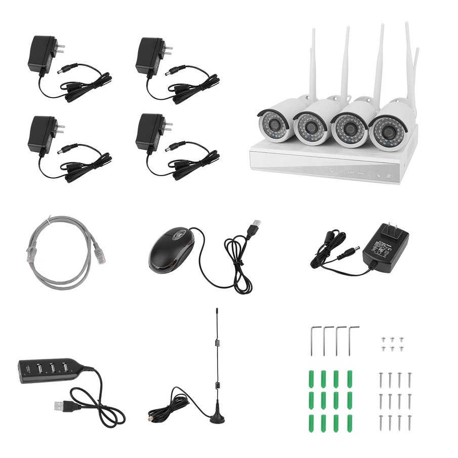4CH 960P HD Wireless Security Camera System Smart HD Outdoor WiFi IP Cameras with Night Vision