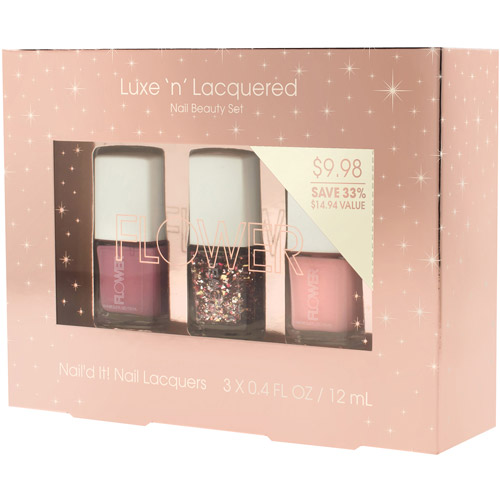 Flower Luxe 'n' Lacquered Nail Beauty Set, 3 pc