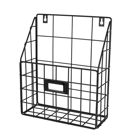AdirHome Wire Mail Basket - Wall Mounted Hanging Folder/Document Organizer (1 Slot) ()