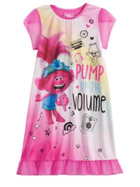 Trolls Girls Short Sleeve Pajama Nightgown Sizes 4-10