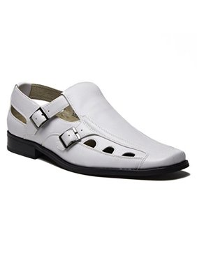 7a9791609b9a35 Product Image New Men s 33308 Leather Lined Double Buckle Closed Toe Sandals