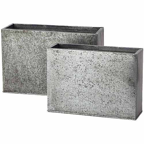 "Image of 14"" x 4.75"" x 10""; 16.75"" x 5.5"" x 11"" Galvanized Cube Planter, Set of 2, Pack of 2"