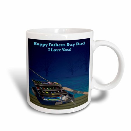 3dRose Happy Fathers Day Dad, Ceramic Mug, 11-ounce