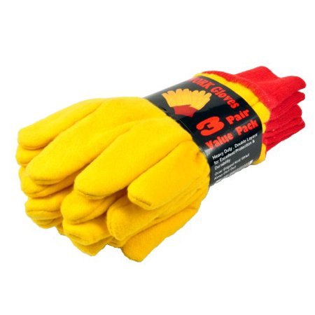 Heavyweight Stretch Gloves (G & F 5414-3 Heavyweight Yellow Chore Winter Work Gloves, Double Layers, Large, 3 Pair Pack )