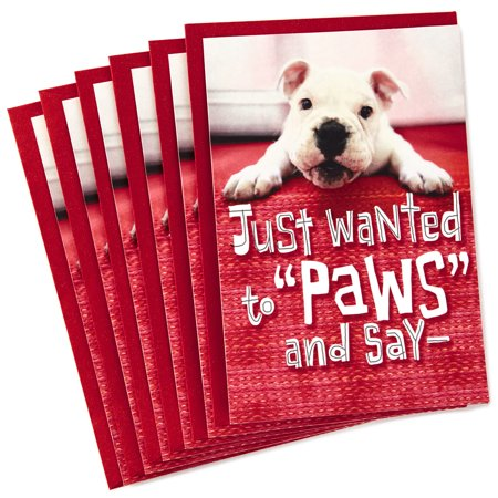 Valentine For Kids (Hallmark Pack of Valentine's Day Cards for Kids, Puppy Paws (6 Cards with)
