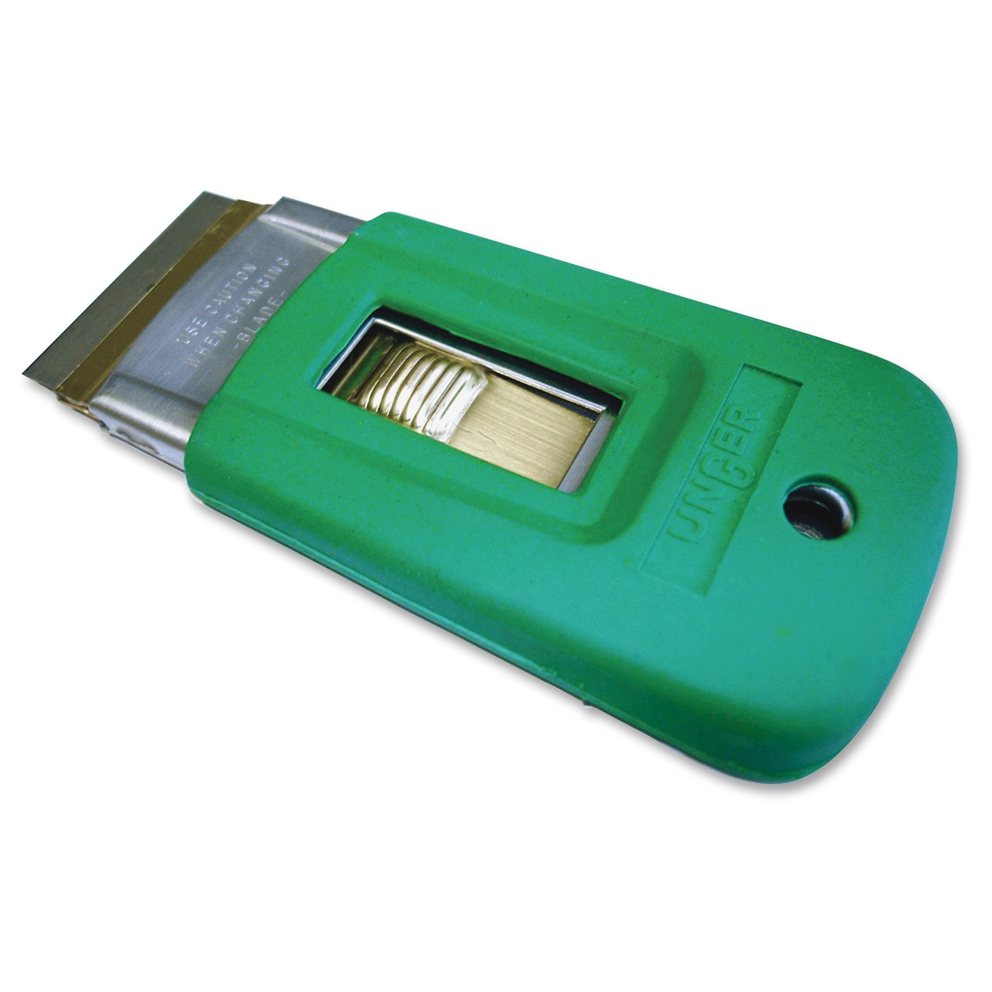 """Unger Safety Scrapers - Retractable, Safety Lock - 1.50"""" Head - Stainless Steel, Rubber - Green (sr040ct)"""