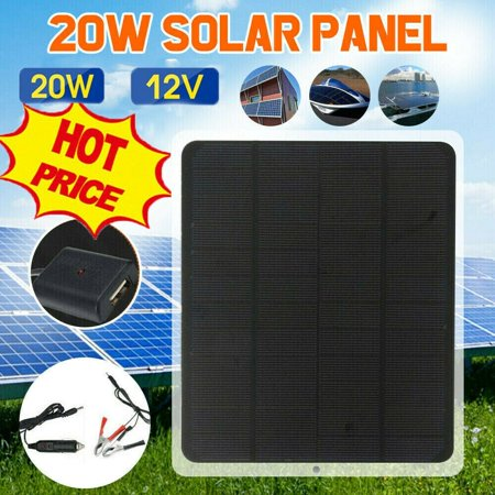 20W 12V Car Boat Yacht Solar Panel Trickle Battery Charger Power Supply Outdoor - image 1 de 5