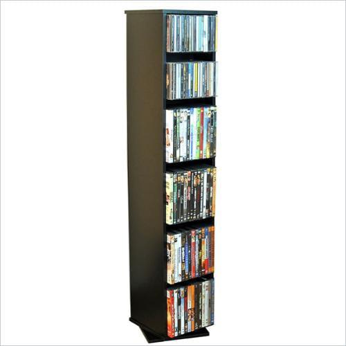 Revolving Multi-Media Tower in Black Finish w Adjustable Shelves