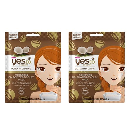 Yes to Coconuts Moisturizing DIY Powder-to-Clay Single-Use Mask, 0.25 oz (Pack of 2) + Cat Line Makeup Tutorial - Diy Halloween Makeup Tutorial