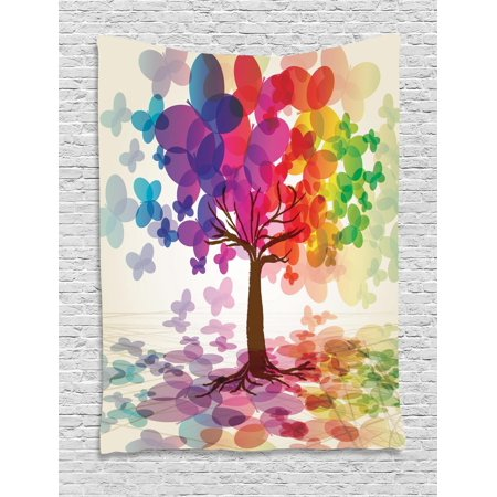 Abstract Tapestry, Colorful Blooming Spring Season Tree with Butterflies Pastoral Nature Illustration, Wall Hanging for Bedroom Living Room Dorm Decor, Multicolor, by -