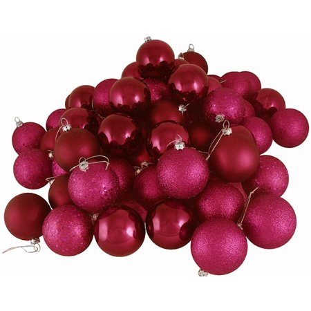 "24ct Red Raspberry Shatterproof 4-Finish Christmas Ball Ornaments 2.5"" (60mm)"