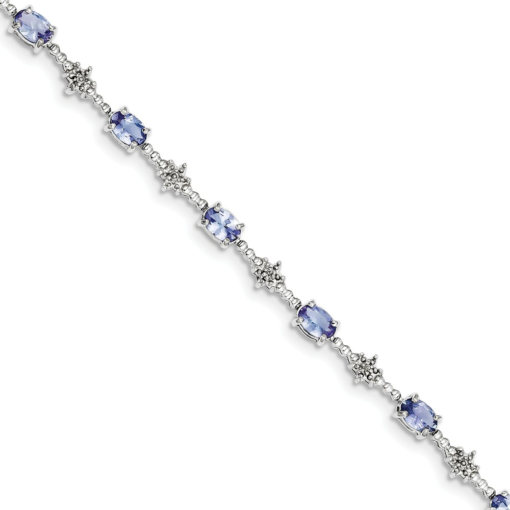 Sterling Silver Tanzanite and Diamond Bracelet. Gem Wt- 3.49ct by Jewelrypot