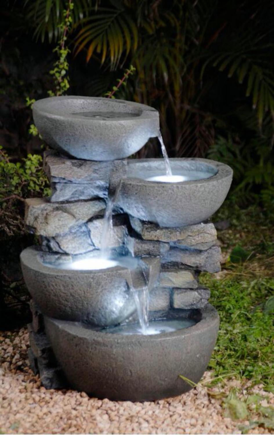 Sunnydaze Outdoor Tiered Stone Waterfall Garden Fountain With Led Lights 24 Inch Tall