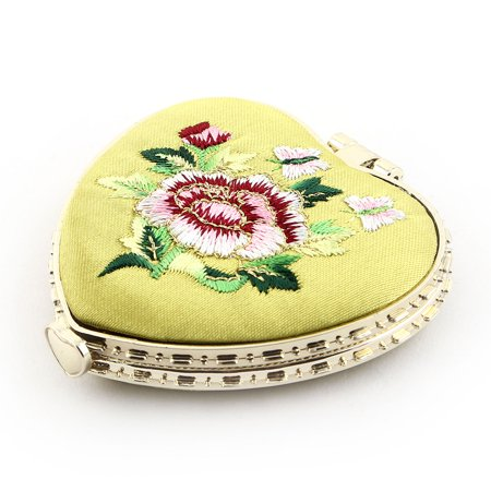 Heart Shaped Embroidery Flower Pattern Button Closure Makeup Mirror Yellow