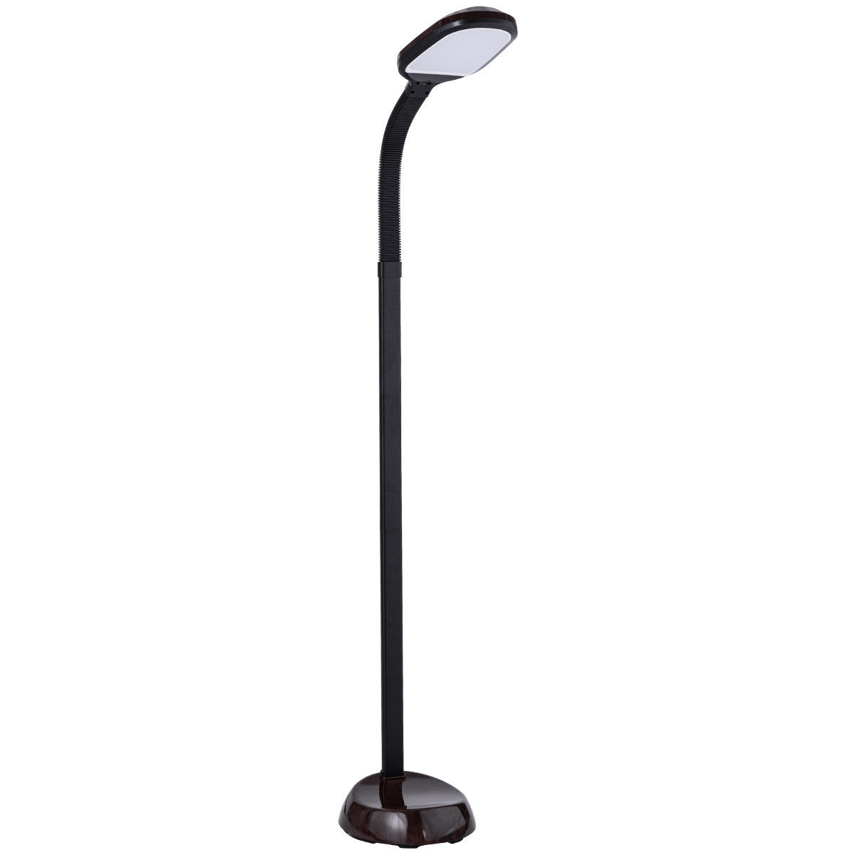 Costway LED Reading Light Standing Floor Lamp Adjustable Gooseneck Energy Saving Walnut by Costway
