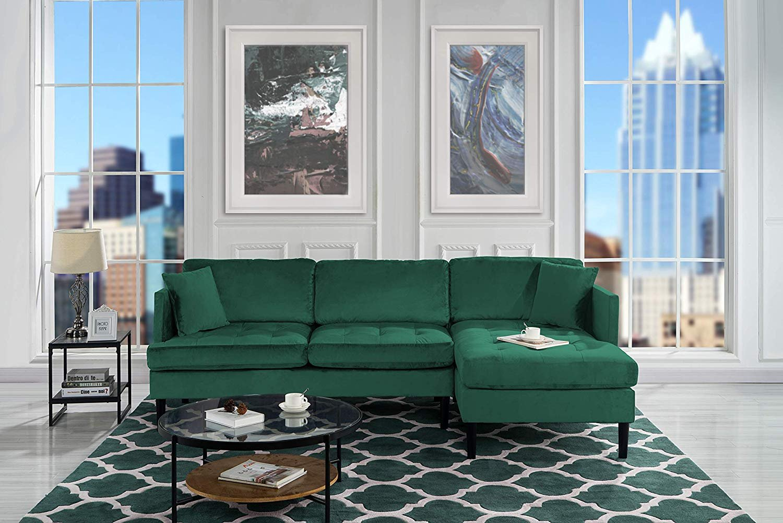 Mid Century Modern Tufted Velvet Sectional Sofa, L-Shape Couch (Black)