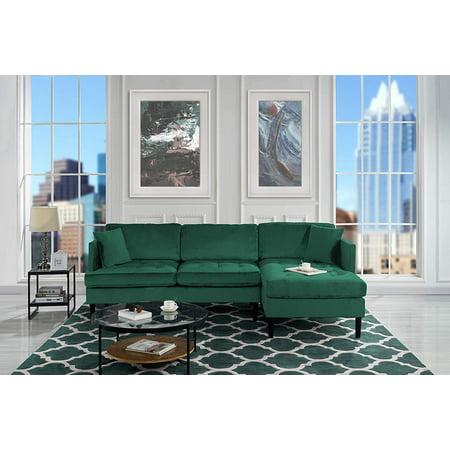 Mid Century Modern Tufted Velvet Sectional Sofa, L-Shape Couch (Green)