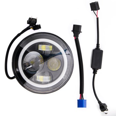 """7"""" Black LED Headlight with Halo Ring Angel Eye for Harley Davidson Road King Classic FLHRC 2007-2013 - image 3 de 5"""