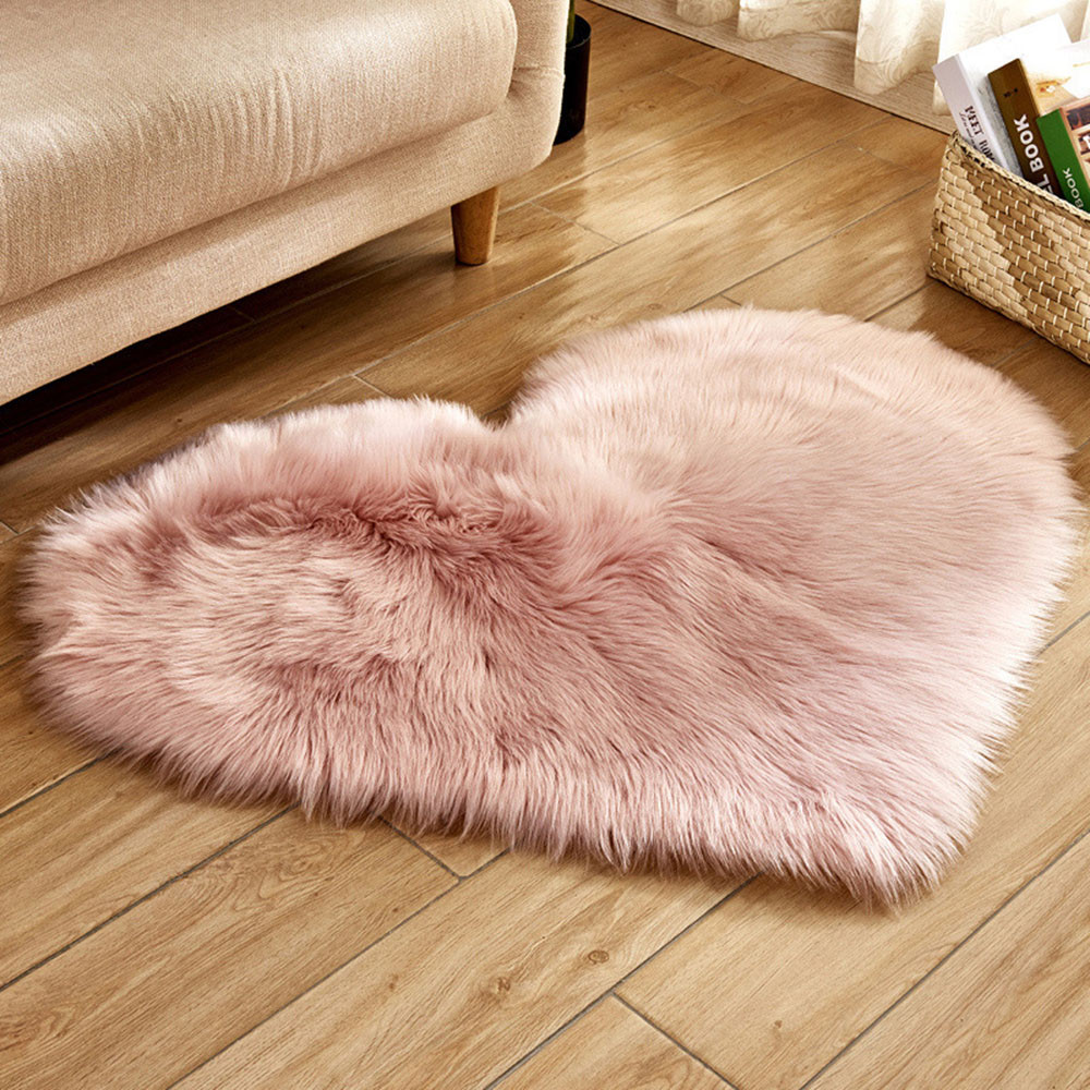 Mosunx Wool Imitation Sheepskin Rugs Faux Fur Non Slip Bedroom Shaggy Carpet Mats