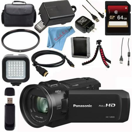 Panasonic HC-V800 Full HD Camcorder + 64GB SDXC Card + 62mm UV Filter + Carrying Case + Flexible Tripod + Micro HDMI Cable + LED Light Bundle