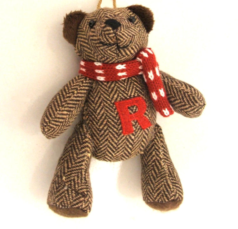 "6.25"" Brown Herringbone Plush Teddy Bear ""R"" Embroidered Christmas Figure Ornament"