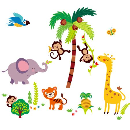 Tumble in the Jungle Nursery/Kids Room Peel & Stick Wall Decals