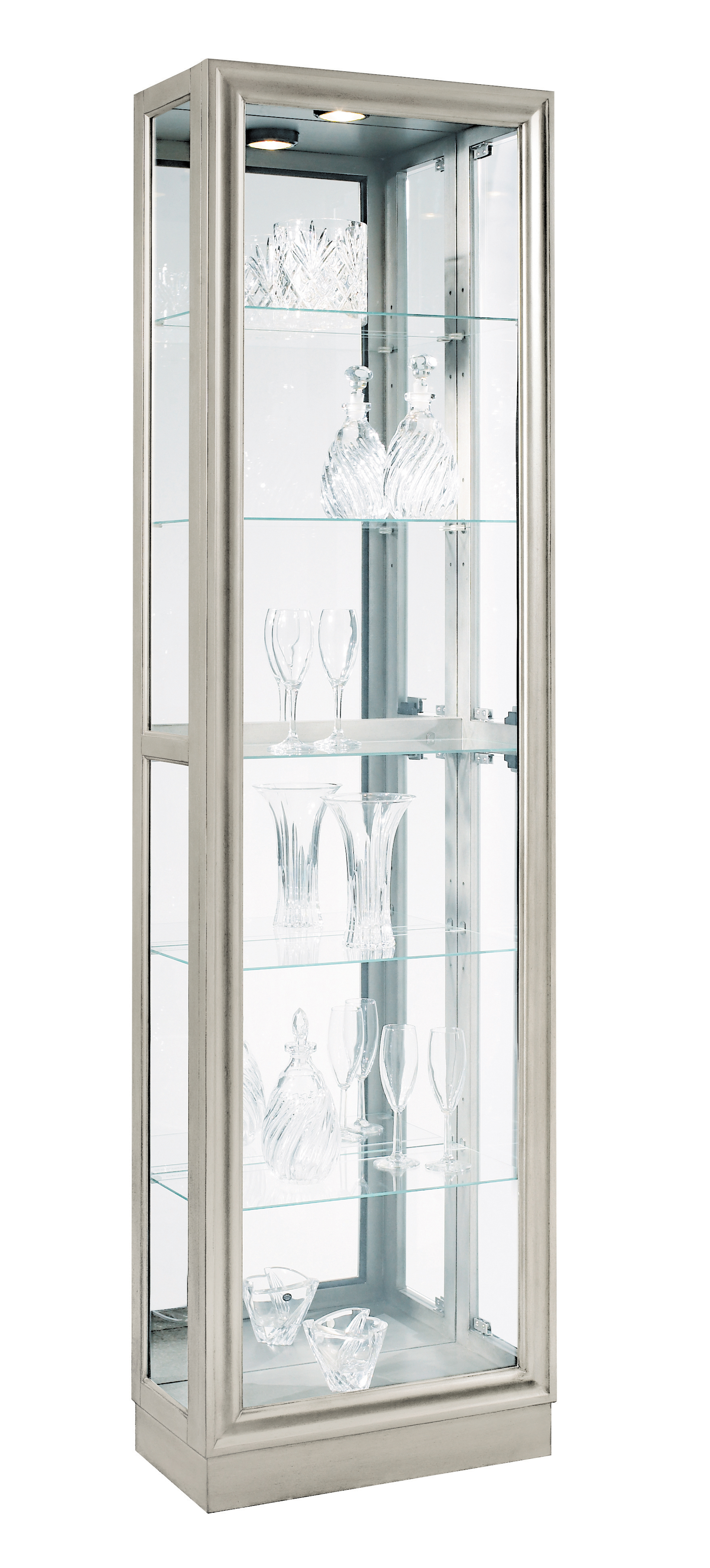Merveilleux Pulaski Curio Modern Display Cabinet In Platinum