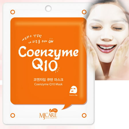 Korean Cosmetics Beauty Rejuvenating Coenzyme Q10 Premium Essence Mask Pack Sheet, Brightening Anti-wrinkle, Skin Tightening, Pack of