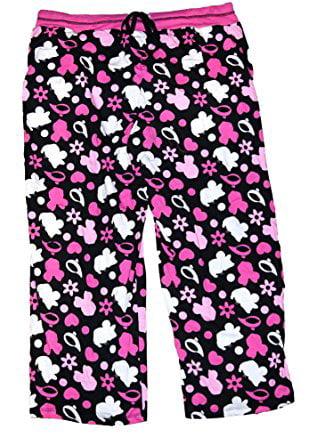 [P] Disney Womens' Mickey Mouse Pajama Pant With Silhouette Print - Pink & Black (XL)