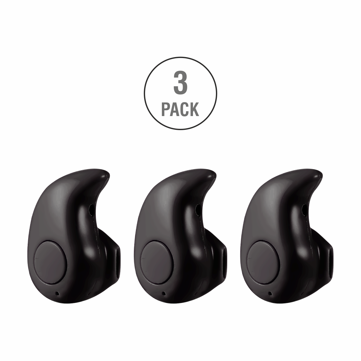 3 Units Professional Mini Invisible Wireless Bluetooth 10.0 Stereo In-Ear Headset Earphone Earbud Earpiece with Hands-free Calling and Microphone