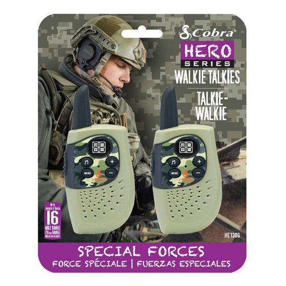 Cobra He130 Gmrs Walkie Talkie 16mle 2 Pack Hero Policeswat Two Way