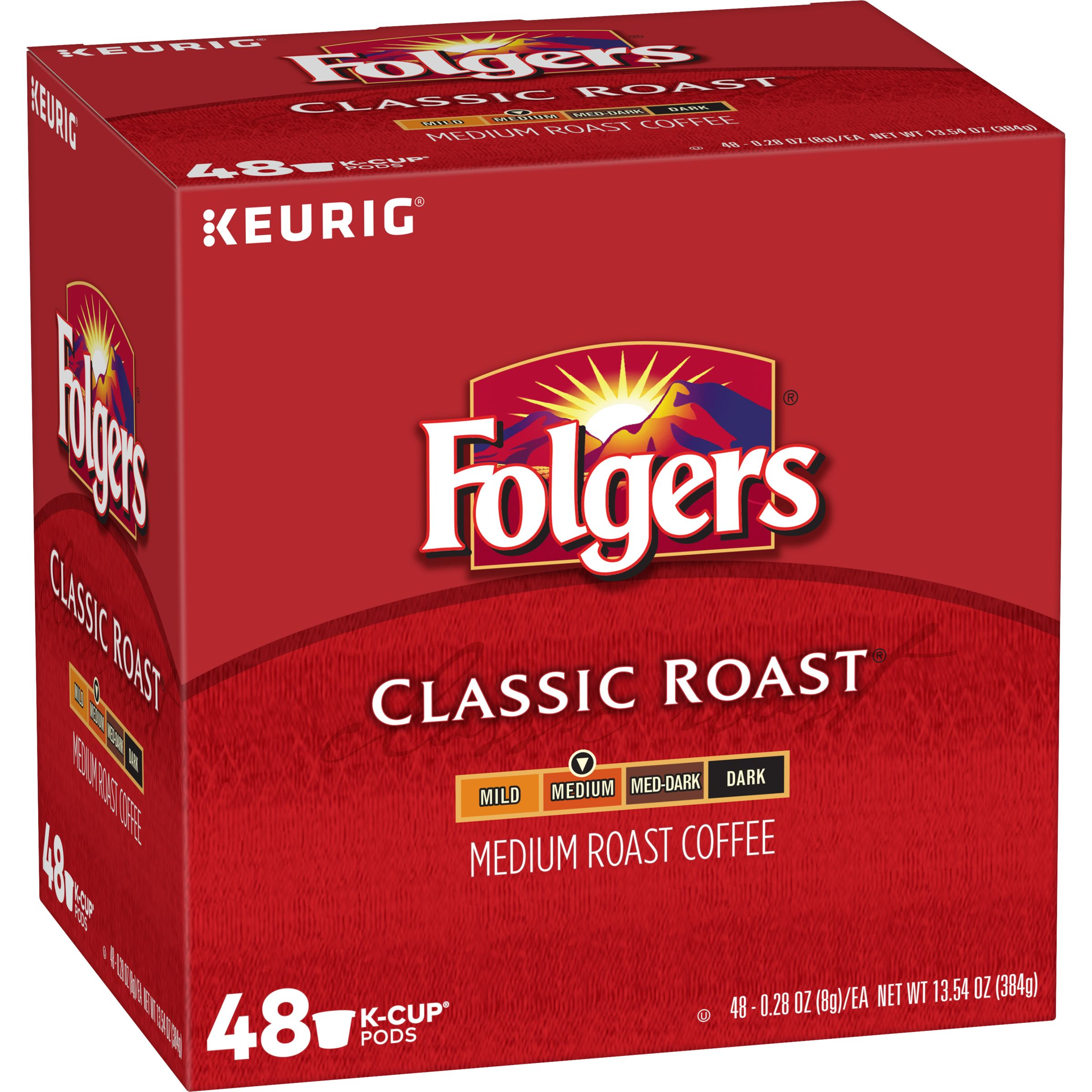 Folgers Classic Roast, Medium Roast Coffee, K-Cup Pods, 48-Count