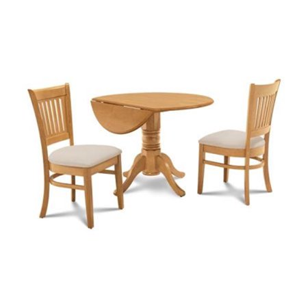 M&D Furniture BUMI3-BOA-C Burlington 3 Piece Small Kitchen Table with 2 Dining Chairs, Buttermilk & Oak ()