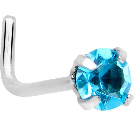 Body Candy Stainless Steel 3mm Brilliant Blue Accent L-Shape Nose Ring 20 Gauge 1/4