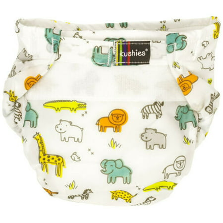 Kushies Ultra-Lite All-In-One Form-Fitted Washable Cloth Diapers (White Safari,