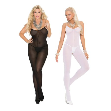 Womens Bodystocking Set- Sexy Spaghetti Strap Sheer Crotchless Bodysuit Lingerie Pack of (Crotchless Sheer)