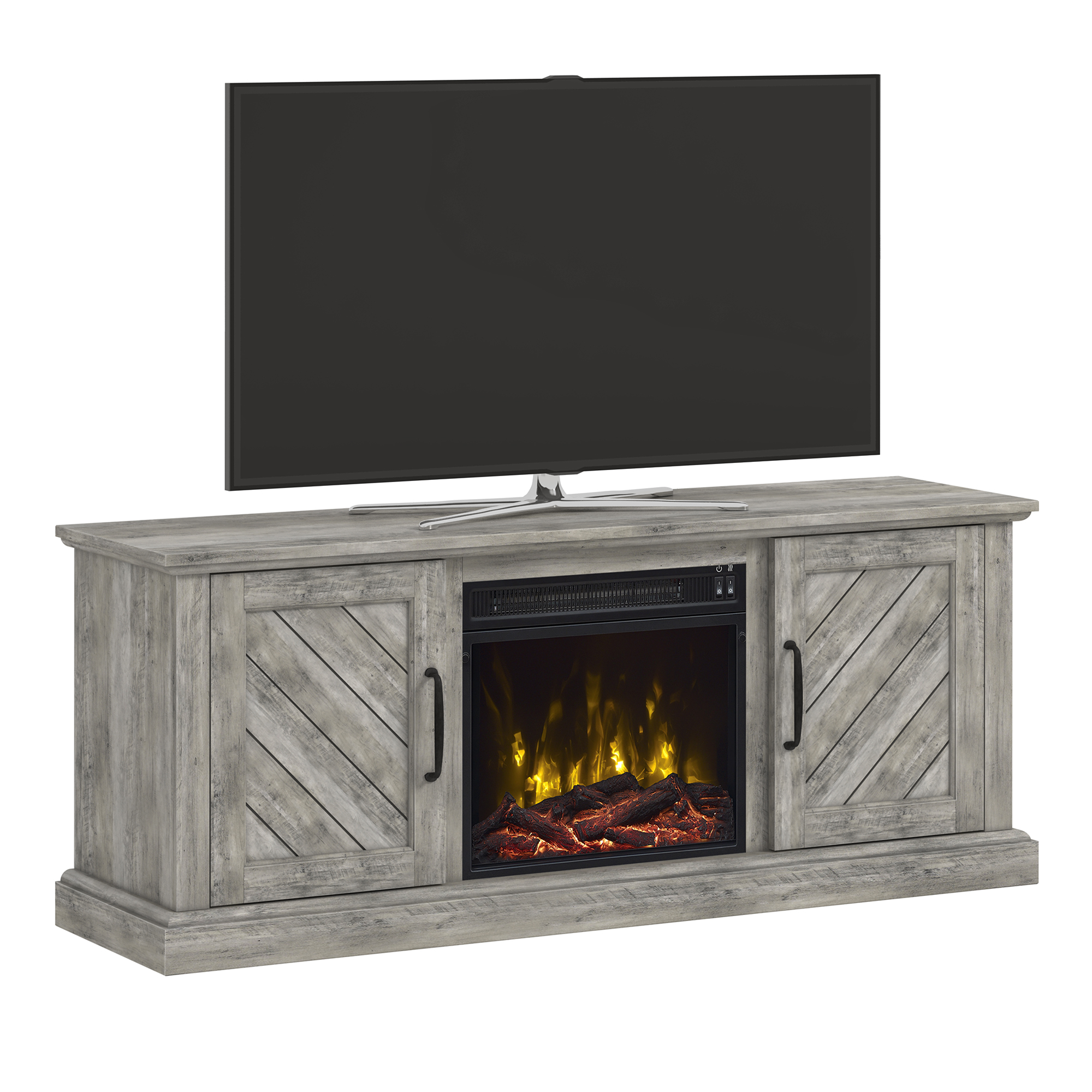"Paoli Valley Pine TV Stand for TVs up to 60"" with Electric Fireplace"