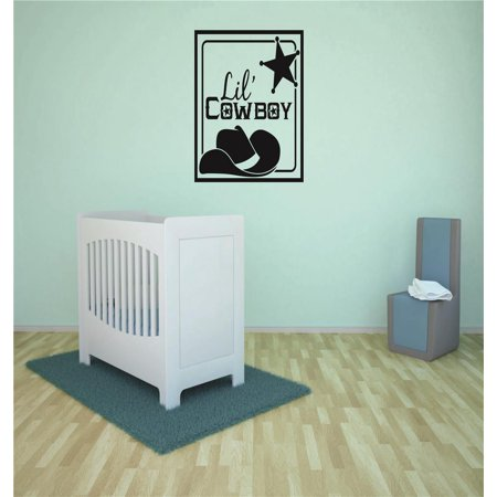 Infant Wall Decor (Vinyl Wall Decal Sticker : Lil Cowboy Western Hat Star Baby Newborn Son Boy Infant Nursery Bedroom Decor Picture Art 20x40 Inches )