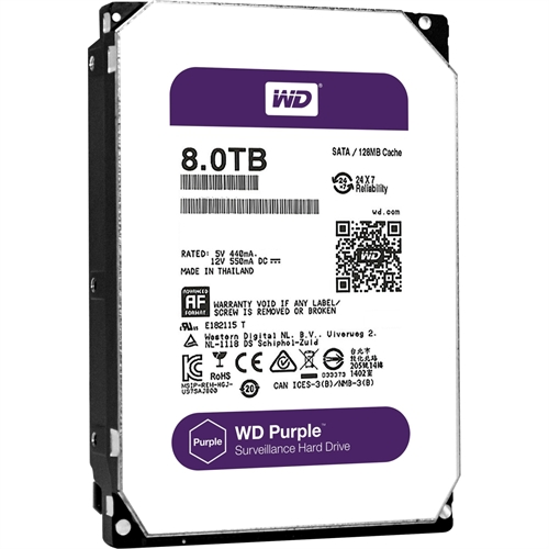"Western Digital Purple 8 TB 3.5"" Internal Hard Drive WD80PUZX"