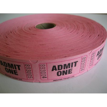 2000 Pink Admit One Single Roll Consecutively Numbered Raffle Tickets, 2000 Pink Admit One Single Roll Raffle Ticket By 50/50 Raffe Tickets Ship from US