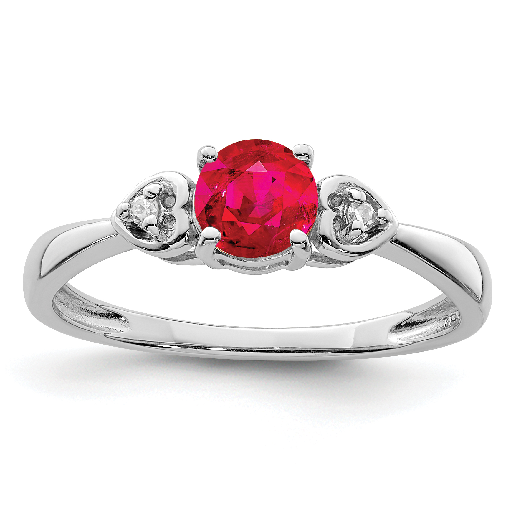 925 Sterling Silver Diamond Red Ruby Band Ring Size 6.00 Gemstone
