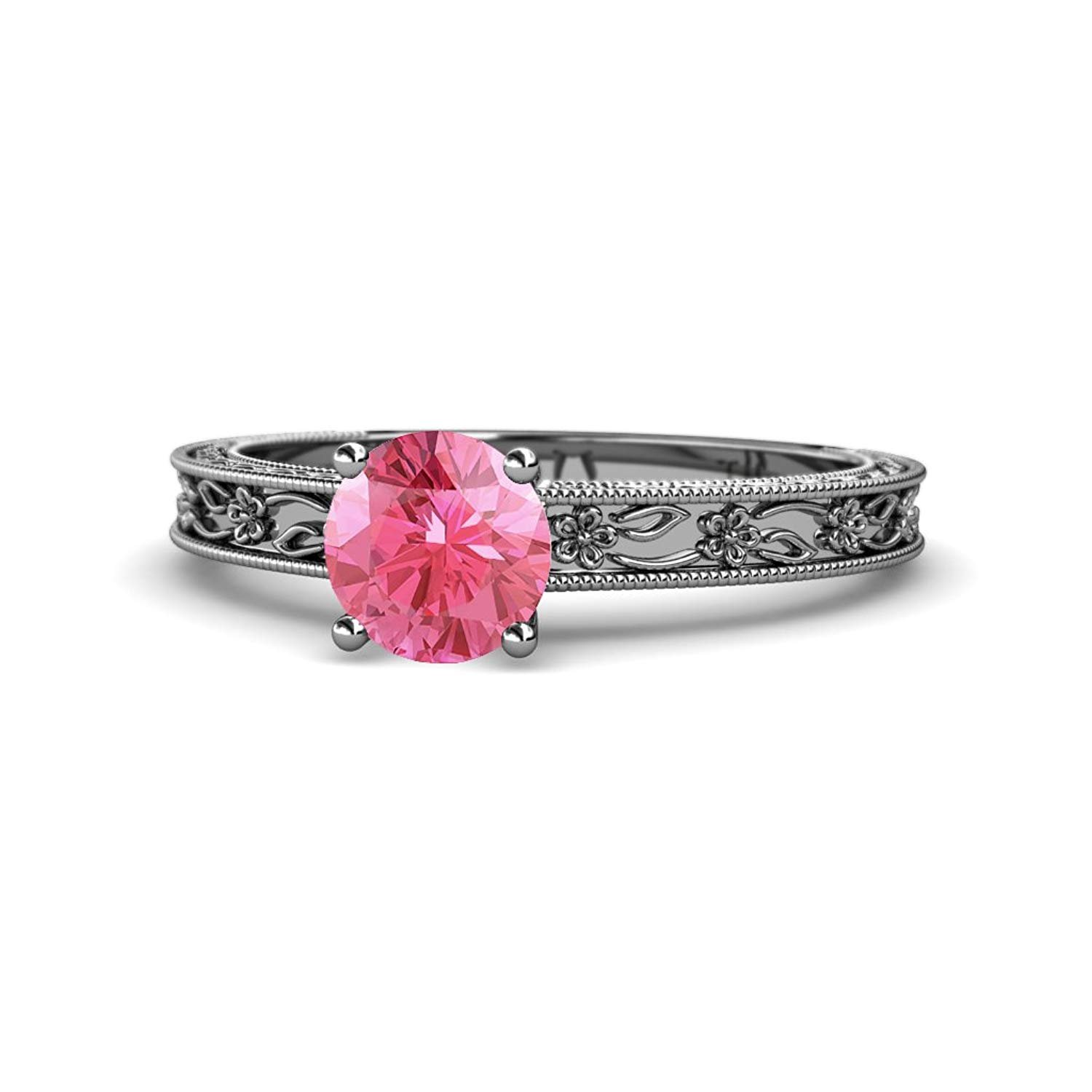 Pink Tourmaline 6.5mm Milgrain Work Floral Engraved Solitaire Engagement Ring 0.87 ct 14K White Gold.size 8.5 by TriJewels