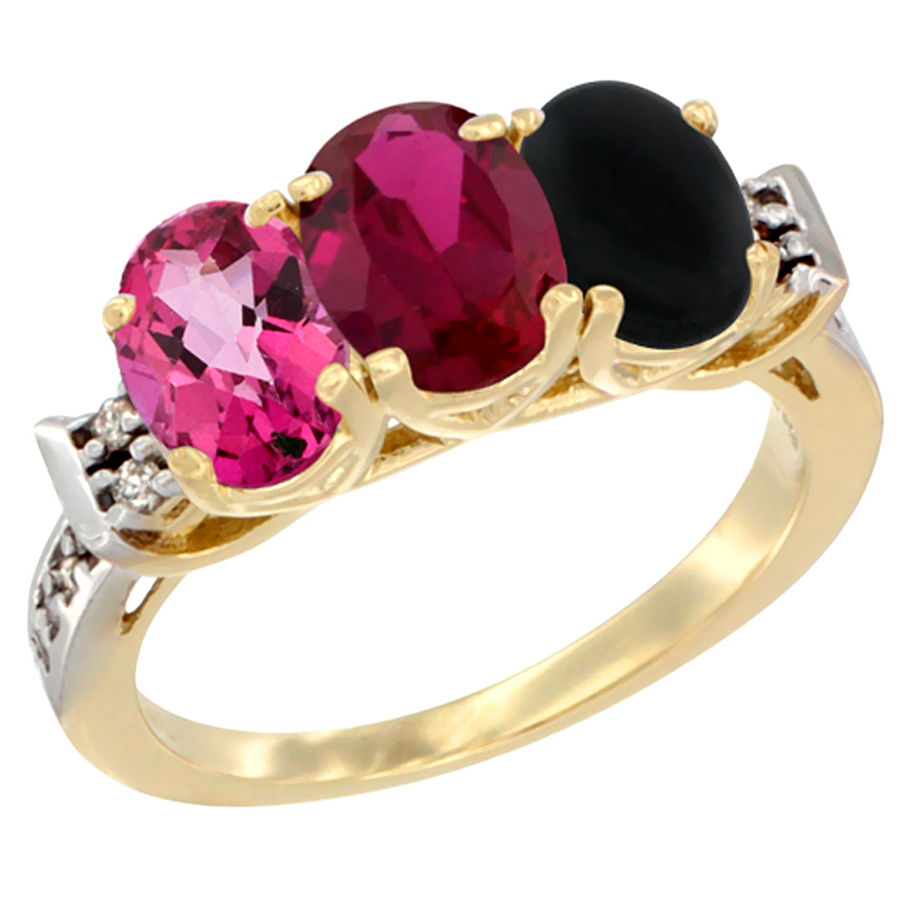 14K Yellow Gold Natural Pink Topaz, Enhanced Ruby & Natural Black Onyx Ring 3-Stone Oval 7x5 mm Diamond Accent, sizes 5... by WorldJewels