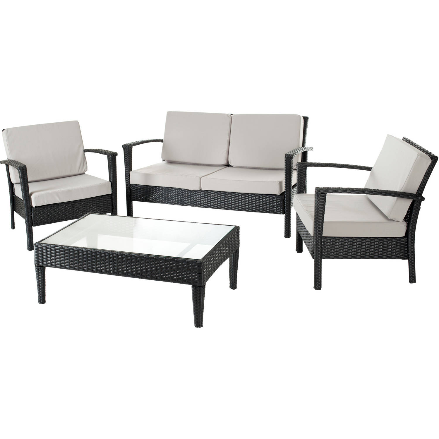 - Safavieh Piscataway 4-Piece Wicker Outdoor Set - Walmart.com