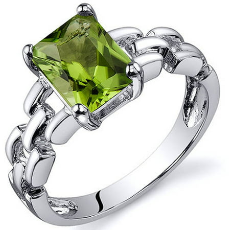 - 1.50 Carat T.G.W. Green Amethyst Rhodium-Plated Sterling Silver Engagement Ring
