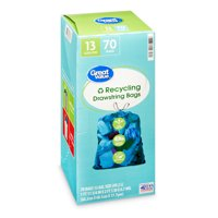 Great Value Blue Recycling Bags, Blue, 13 Gallon, 70 Count