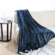 Piccocasa Cozy Flannel and Faux Lambswool, 1 Piece Queen Blanket, Black and White Check