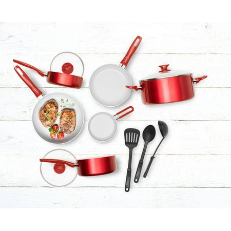 Ronbow Ceramic - Food-E Ceramic Non-Stick 12-Piece Cookware Set, Red