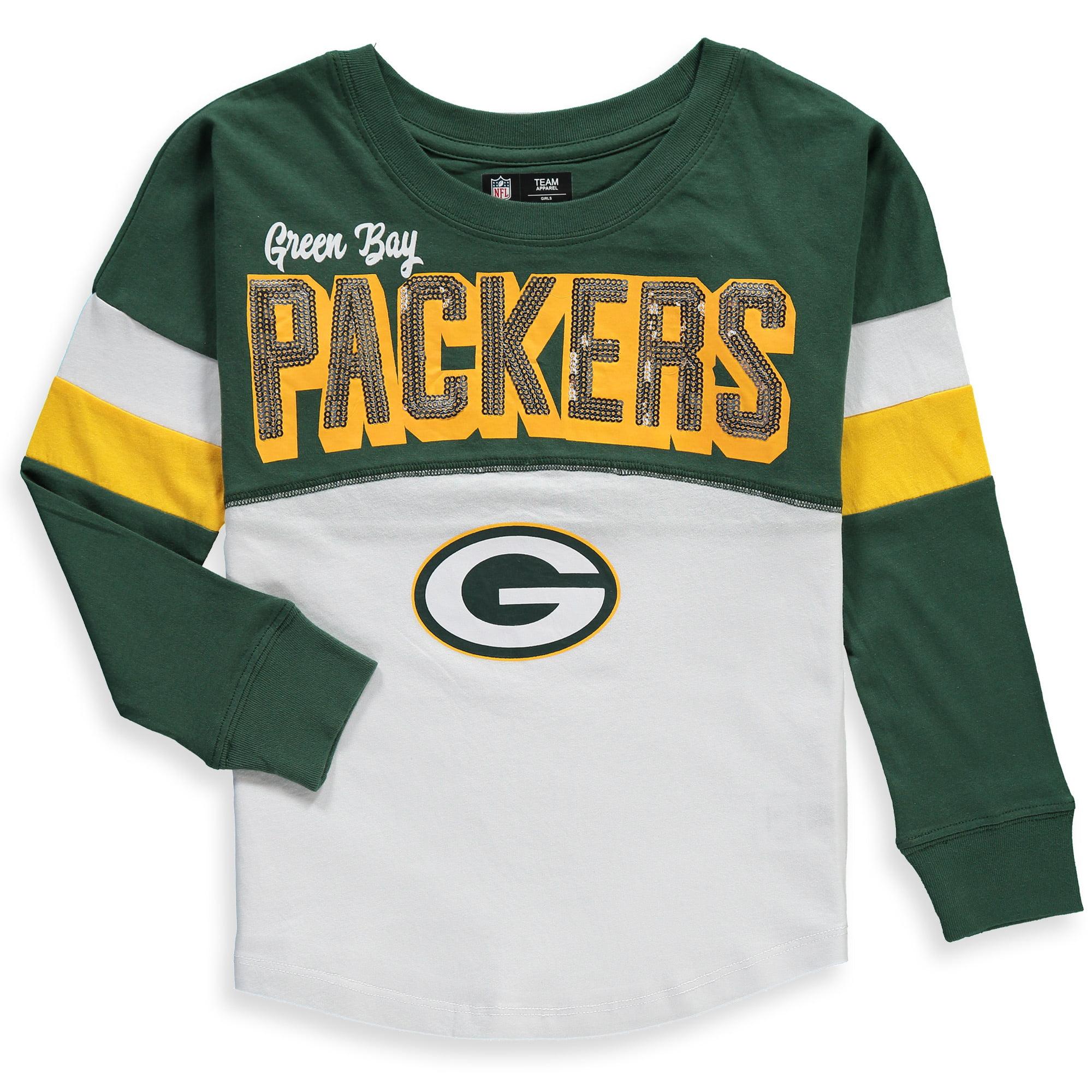 Green Bay Packers New Era Girls Youth Baby Jersey Long Sleeve T-Shirt - White/Green